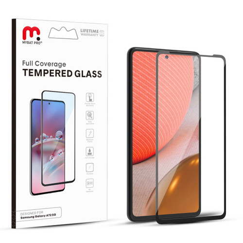 MyBat Pro Full Coverage Tempered Glass Screen Protector for Samsung Galaxy A72 5G - Black