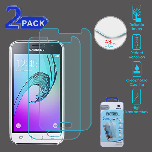 Asmyna Tempered Glass Screen Protector (2.5D)(2-pack) for Samsung Galaxy J1 (2016)/S120 (Galaxy Luna) / Galaxy Express 3 - Clear