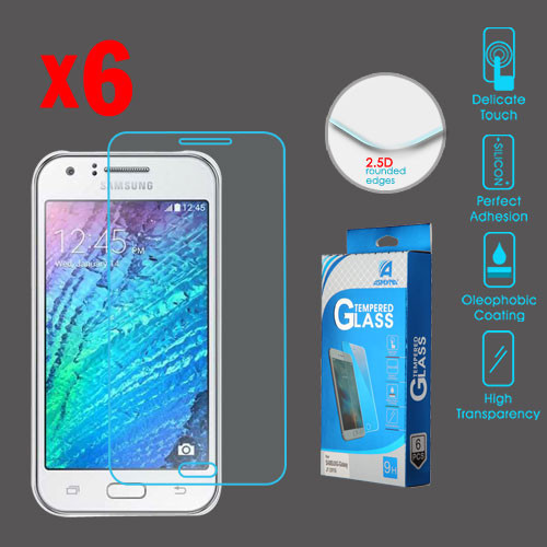Asmyna Tempered Glass Screen Protector (2.5D)(6-pack) for Samsung Galaxy J7 (2016) / Galaxy J7 (2015) - Clear