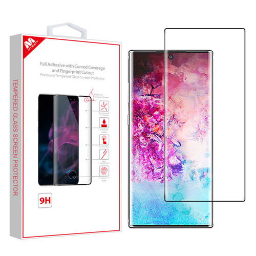 MyBat Full Adhesive with Curved Coverage and Fingerprint Cutout Premium Tempered Glass Screen Protector for Samsung Galaxy Note 10 Plus (6.8) / Galaxy Note 10 Plus 5G - Black