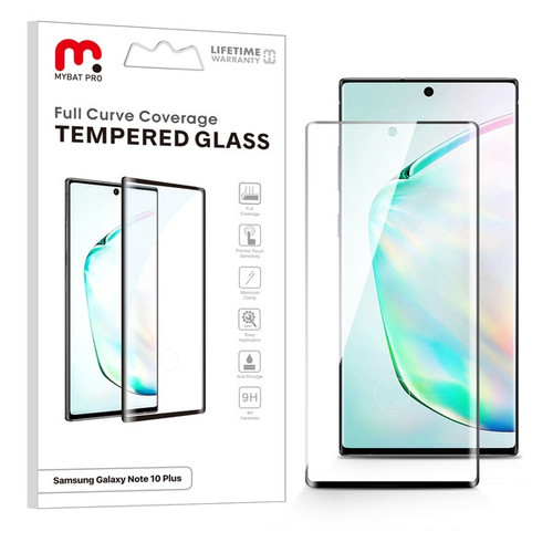 MyBat Pro Full Curve Coverage Tempered Glass Screen Protector for Samsung Galaxy Note 10 Plus (6.8) / Galaxy Note 10 Plus 5G - Black