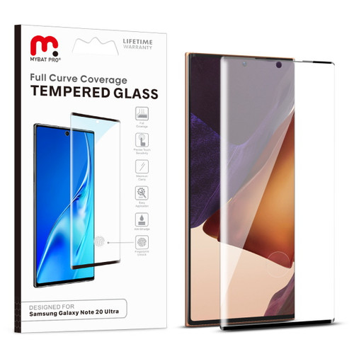 MyBat Pro Full Curve Coverage Tempered Glass Screen Protector for Samsung Galaxy Note 20 Ultra - Black