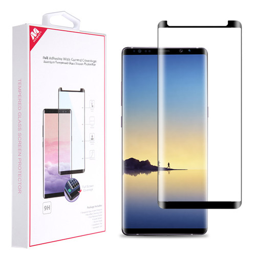 MyBat Full Adhesive with Curved Coverage Premium Tempered Glass Screen Protector for Samsung Galaxy Note 8 - Black