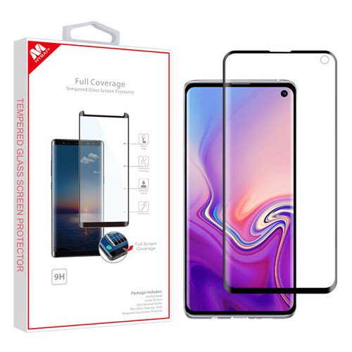 MyBat Full Coverage Tempered Glass Screen Protector for Samsung Galaxy S10 - Black