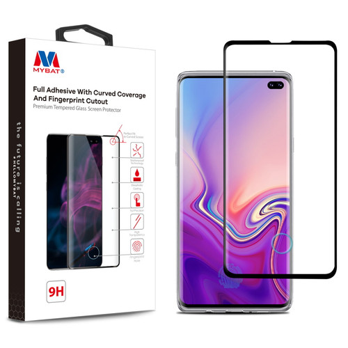 MyBat Full Adhesive with Curved Coverage and Fingerprint Cutout Premium Tempered Glass Screen Protector for Samsung Galaxy S10 plus - Black