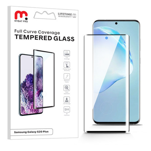 MyBat Pro Full Curve Coverage Tempered Glass Screen Protector for Samsung Galaxy S20 PLUS (6.7) / Galaxy S20 Plus 5G - Black