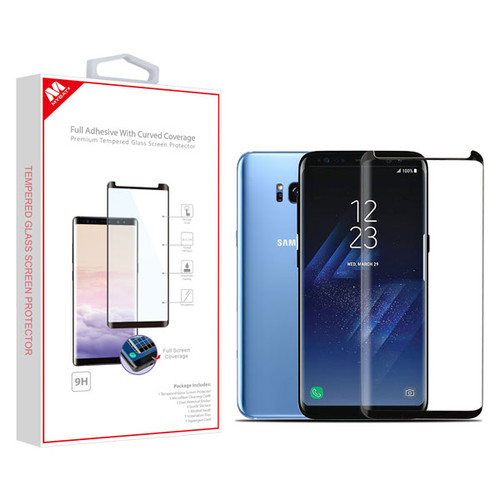 MyBat Full Adhesive with Curved Coverage Premium Tempered Glass Screen Protector for Samsung Galaxy S8 - Black