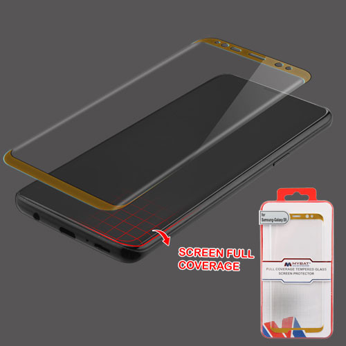 MyBat Full Coverage Tempered Glass Screen Protector for Samsung Galaxy S9 - Gold