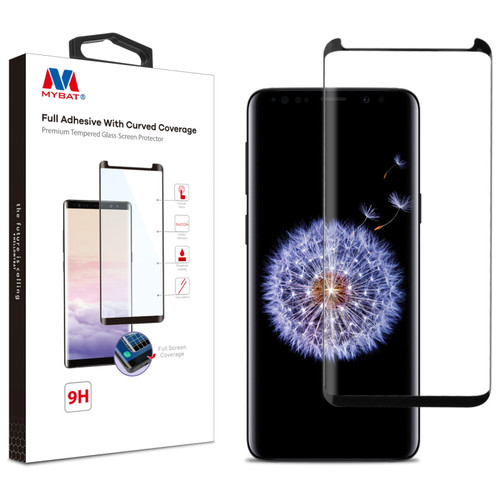 MyBat Full Adhesive with Curved Coverage Premium Tempered Glass Screen Protector for Samsung Galaxy S9 Plus - Black