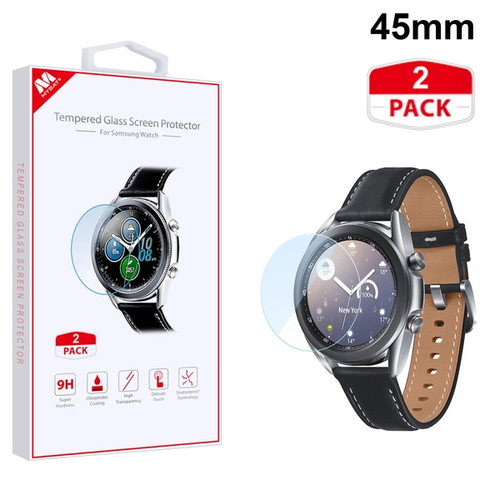 MyBat Tempered Glass Screen Protector (2.5D)(2-pack) for Samsung Galaxy Watch 3 (45mm) - Clear