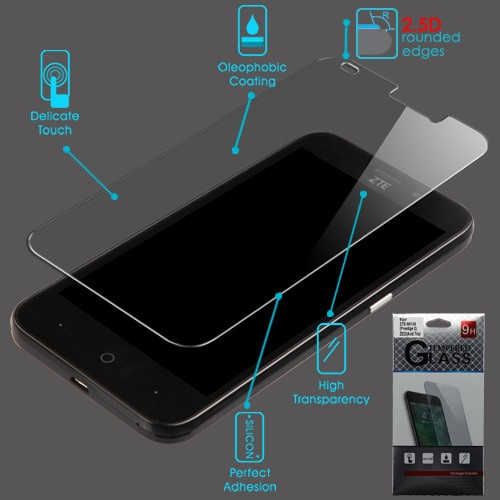 Airium Tempered Glass Screen Protector (2.5D) for Zte N9136 (Prestige 2)/Z835 Maven 3 / Overture 3 - Clear