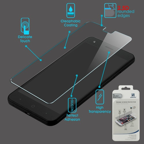 Asmyna Tempered Glass Screen Protector (2.5D) for Zte N9517 (Blade Force) - Clear