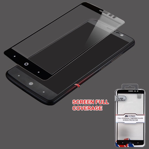 MyBat Full Coverage Tempered Glass Screen Protector for Zte Z986 Blade Max 3/Max Blue / N9560 Max XL - Black