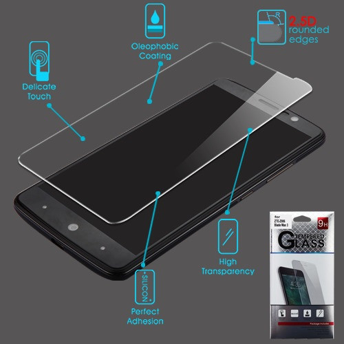 Airium Tempered Glass Screen Protector (2.5D) for Zte Z986 Blade Max 3/Max Blue / N9560 Max XL - Clear