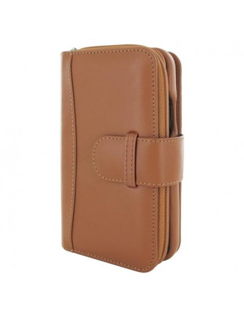 Piel Frama 872 Tan ZipperWallet Leather Case for Apple iPhone 12 / iPhone 12 Pro