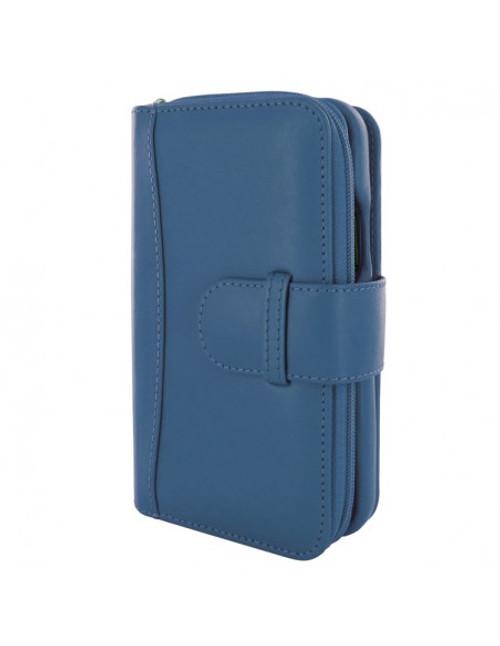 Piel Frama 872 Blue ZipperWallet Leather Case for Apple iPhone 12 / iPhone 12 Pro