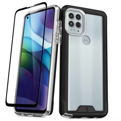 ZIZO ION Series for Moto G Stylus 5G (2021) Case - Military Grade Drop Tested with Tempered Glass Screen Protector - Black Smoke IONC-MOTGSTL5G-BKSM