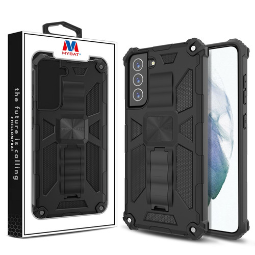 MyBat Sturdy Hybrid Protector Cover (with Stand) for Samsung Galaxy S21 Fan Edition - Black / Black