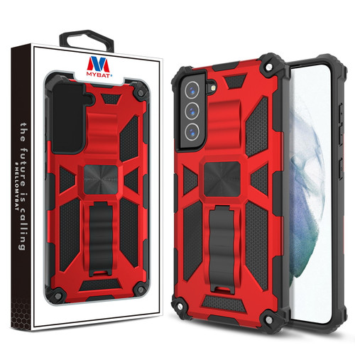 MyBat Sturdy Hybrid Protector Cover (with Stand) for Samsung Galaxy S21 Fan Edition - Red / Black