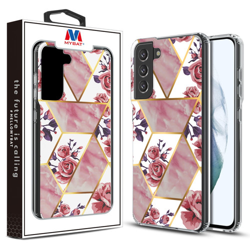 MyBat Fusion Protector Cover for Samsung Galaxy S21 Fan Edition - Electroplated Roses Marbling