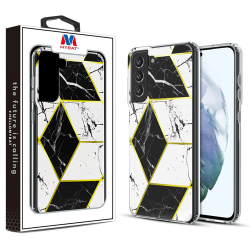 MyBat Fusion Protector Cover for Samsung Galaxy S21 Fan Edition - Electroplated Black Marbling