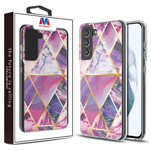 MyBat Fusion Protector Cover for Samsung Galaxy S21 Fan Edition - Electroplated Purple Marbling