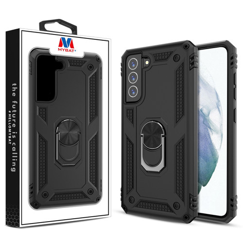 MyBat Anti-Drop Hybrid Protector Case (with Ring Stand) for Samsung Galaxy S21 Fan Edition - Black / Black