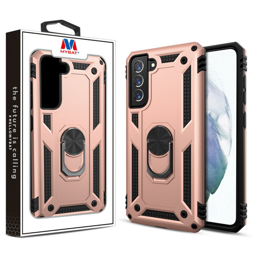 MyBat Anti-Drop Hybrid Protector Case (with Ring Stand) for Samsung Galaxy S21 Fan Edition - Rose Gold / Black