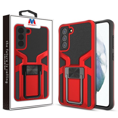 MyBat Hybrid Protector Case (with Ring Stand) for Samsung Galaxy S21 Fan Edition - Red / Black