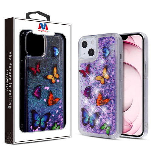 MyBat Glitter Hybrid Protector Cover for Apple iPhone 13 (6.1) - Butterfly Dancing & Purple Quicksand (Hearts)