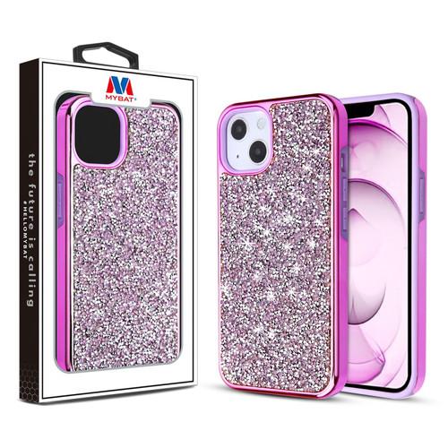 MyBat Encrusted Rhinestones Hybrid Case for Apple iPhone 13 mini (5.4) - Electroplated Purple / Purple