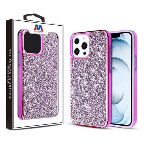 MyBat Encrusted Rhinestones Hybrid Case for Apple iPhone 13 Pro Max (6.7) - Electroplated Purple / Purple