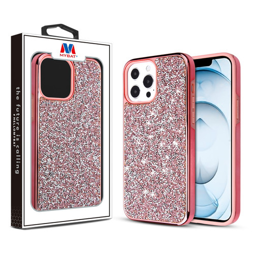 MyBat Encrusted Rhinestones Hybrid Case for Apple iPhone 13 Pro Max (6.7) - Electroplated Pink / Pink