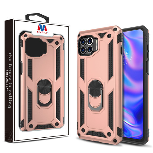 MyBat Anti-Drop Hybrid Protector Case (with Ring Stand) for Motorola Moto One 5G - Rose Gold / Black
