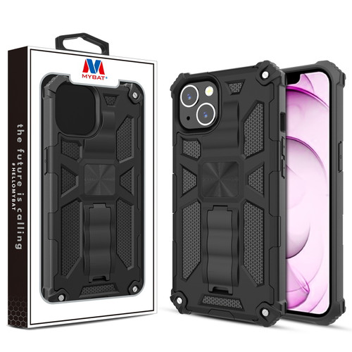 MyBat Sturdy Hybrid Protector Cover (with Stand) for Apple iPhone 13 mini (5.4) - Black / Black
