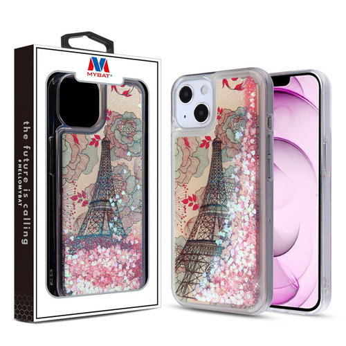 MyBat Quicksand Glitter Hybrid Protector Cover for Apple iPhone 13 mini (5.4) - Eiffel Tower & Pink Hearts