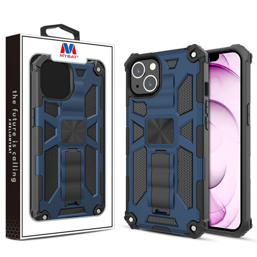 MyBat Sturdy Hybrid Protector Cover (with Stand) for Apple iPhone 13 mini (5.4) - Ink Blue / Black