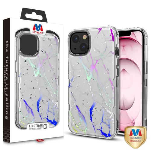 MyBat TUFF Kleer Hybrid Case for Apple iPhone 13 (6.1) - White Marbling / Electroplating Silver
