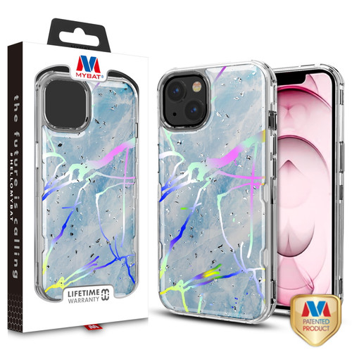 MyBat TUFF Kleer Hybrid Case for Apple iPhone 13 (6.1) - Blue Marbling / Electroplating Silver