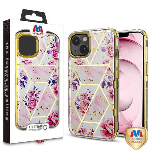 MyBat TUFF Kleer Hybrid Case for Apple iPhone 13 (6.1) - Electroplated Roses Marble / Electroplating Gold