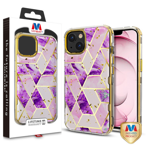 MyBat TUFF Kleer Hybrid Case for Apple iPhone 13 (6.1) - Electroplated Purple Marble / Electroplating Gold