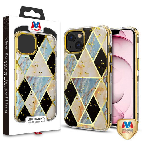 MyBat TUFF Kleer Hybrid Case for Apple iPhone 13 (6.1) - Electroplated Blue Marble / Electroplating Gold