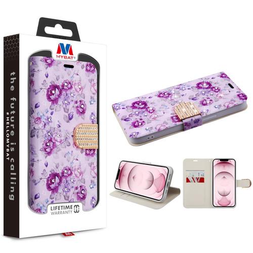 MyBat MyJacket Wallet Diamond Series for Apple iPhone 13 (6.1) - Fresh Purple Flowers
