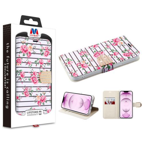 MyBat MyJacket Wallet Diamond Series for Apple iPhone 13 mini (5.4) - Pink Fresh Roses