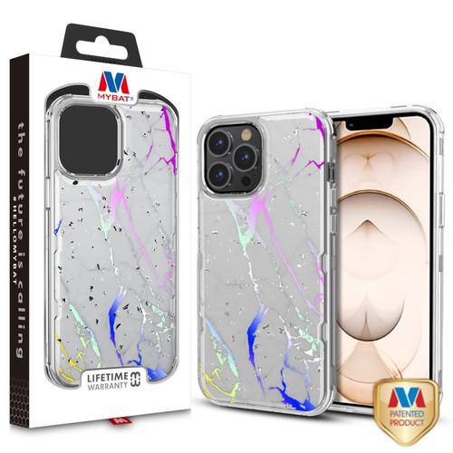 MyBat TUFF Kleer Hybrid Case for Apple iPhone 13 Pro (6.1) - White Marbling / Electroplating Silver