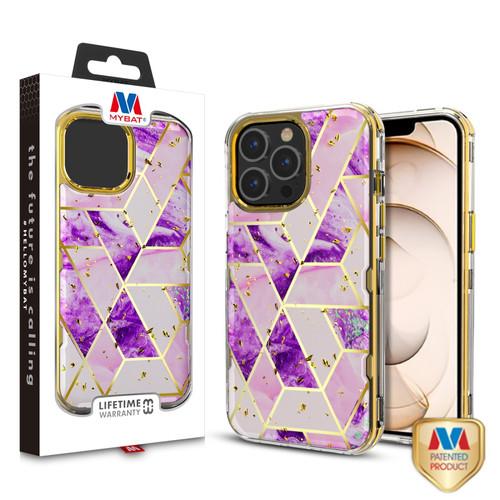 MyBat TUFF Kleer Hybrid Case for Apple iPhone 13 Pro (6.1) - Electroplated Purple Marble / Electroplating Gold