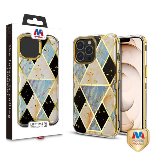MyBat TUFF Kleer Hybrid Case for Apple iPhone 13 Pro (6.1) - Electroplated Blue Marble / Electroplating Gold