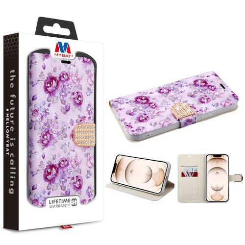 MyBat MyJacket Wallet Diamond Series for Apple iPhone 13 Pro (6.1) - Fresh Purple Flowers