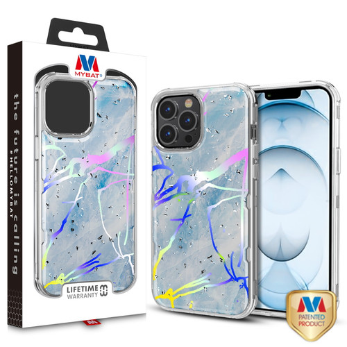 MyBat TUFF Kleer Hybrid Case for Apple iPhone 13 Pro Max (6.7) - Blue Marbling / Electroplating Silver