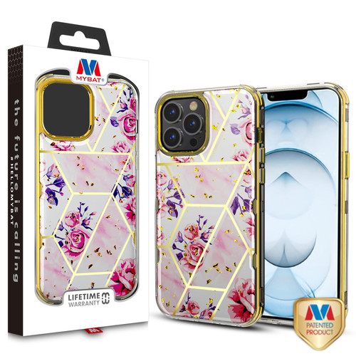 MyBat TUFF Kleer Hybrid Case for Apple iPhone 13 Pro Max (6.7) - Electroplated Roses Marble / Electroplating Gold
